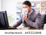 businessman with mask in office ... | Shutterstock . vector #645221848