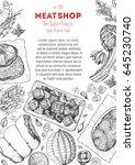meat top view frame. vector... | Shutterstock .eps vector #645230740