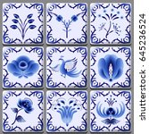 blue pattern in the form of... | Shutterstock .eps vector #645236524