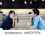 dating in a cafe. beautiful... | Shutterstock . vector #645237574