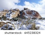 snow in the desert   red rock... | Shutterstock . vector #645238324
