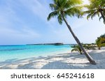 maldivian wooden bungalows with ... | Shutterstock . vector #645241618