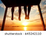 happiness concept  silhouette... | Shutterstock . vector #645242110