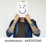 illustration of smiley face on... | Shutterstock . vector #645242560