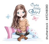 cute little girl in knitted... | Shutterstock .eps vector #645248080