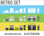 retro gadgets from 90s in three ... | Shutterstock .eps vector #645258088
