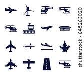 aviation icons set. set of 16... | Shutterstock .eps vector #645263020