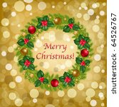 christmas wreath with new year... | Shutterstock .eps vector #64526767