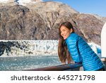 alaska cruise ship tourist... | Shutterstock . vector #645271798