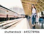 asian backpack traveler woman... | Shutterstock . vector #645278986