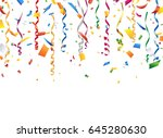 colorful confetti and streamer... | Shutterstock .eps vector #645280630