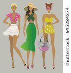 three young stylish girls.... | Shutterstock .eps vector #645284374