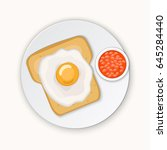 toast with eggs and beans.... | Shutterstock .eps vector #645284440