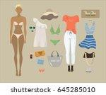 dress up paper doll. female... | Shutterstock .eps vector #645285010