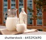 milk on the balcony window sill....   Shutterstock . vector #645292690