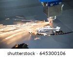 the fiber laser cutting machine ... | Shutterstock . vector #645300106