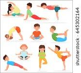 cute yoga kids set. children...   Shutterstock . vector #645302164