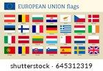 european union big set flags ... | Shutterstock .eps vector #645312319