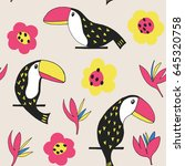 toucan floral seamless pattern. ... | Shutterstock .eps vector #645320758