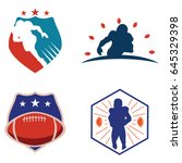 american football logo template ... | Shutterstock .eps vector #645329398