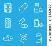 pill icons set. set of 9 pill... | Shutterstock .eps vector #645333610