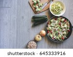 delicious healthy dinner with... | Shutterstock . vector #645333916