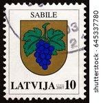 latvia   circa 2007  a stamp... | Shutterstock . vector #645337780