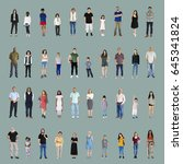 diversity people set gesture... | Shutterstock . vector #645341824
