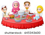 muslim family pray together... | Shutterstock .eps vector #645343600