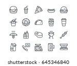 fastfood. set of outline vector ... | Shutterstock .eps vector #645346840