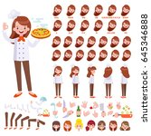vector chef girl character for... | Shutterstock .eps vector #645346888