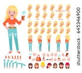 vector girl character for your... | Shutterstock .eps vector #645346900