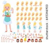 vector chef girl character for... | Shutterstock .eps vector #645346903