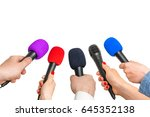 hands of reporters with many... | Shutterstock . vector #645352138