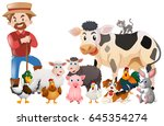 farmer and many animals... | Shutterstock .eps vector #645354274
