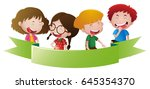 banner template with four happy ... | Shutterstock .eps vector #645354370