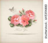 floral 'thank you' card with... | Shutterstock .eps vector #645354880