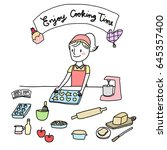 enjoy cooking time concept with ... | Shutterstock .eps vector #645357400