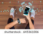 fitness tech healthcare... | Shutterstock . vector #645361006