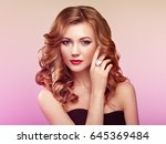 blonde woman with long and... | Shutterstock . vector #645369484