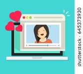 online remote dating concept on ... | Shutterstock .eps vector #645373930