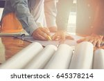architect  engineer and foreman ... | Shutterstock . vector #645378214