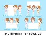beauty cartoon women take... | Shutterstock .eps vector #645382723