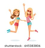 happy girls jumping | Shutterstock .eps vector #645383806