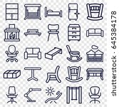 furniture icons set. set of 25... | Shutterstock .eps vector #645384178