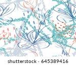 doodles with crayon texture... | Shutterstock .eps vector #645389416
