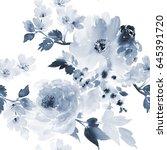 seamless pattern in a blue... | Shutterstock . vector #645391720