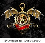 steampunk gold  antique watches ... | Shutterstock .eps vector #645393490