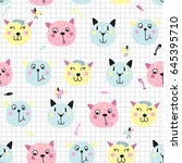 seamless background with cute... | Shutterstock .eps vector #645395710