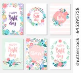 vintage birthday cards design... | Shutterstock .eps vector #645395728